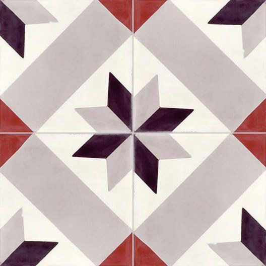 Carreau de ciment sol et mur gris noir rouge etoile x for Tapis carreaux de ciment leroy merlin