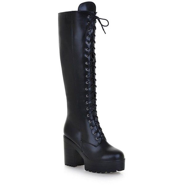 Mostrin Women's Lace-up Casual Chunky Heel Platform Knee High Combat... (120 BRL) ❤ liked on Polyvore featuring shoes, boots, combat booties, military boots, army boots, combat boots and lace up combat boots