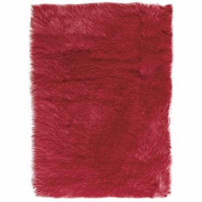 Home Decorators Collection Faux Sheepskin Red 5 ft. x 8 ft. Area Rug - 5248230110 - The Home Depot