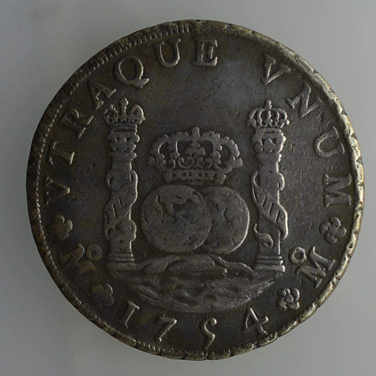 1754 Mexico 8 Reales Spanish Colonial Silver Dos Mundos
