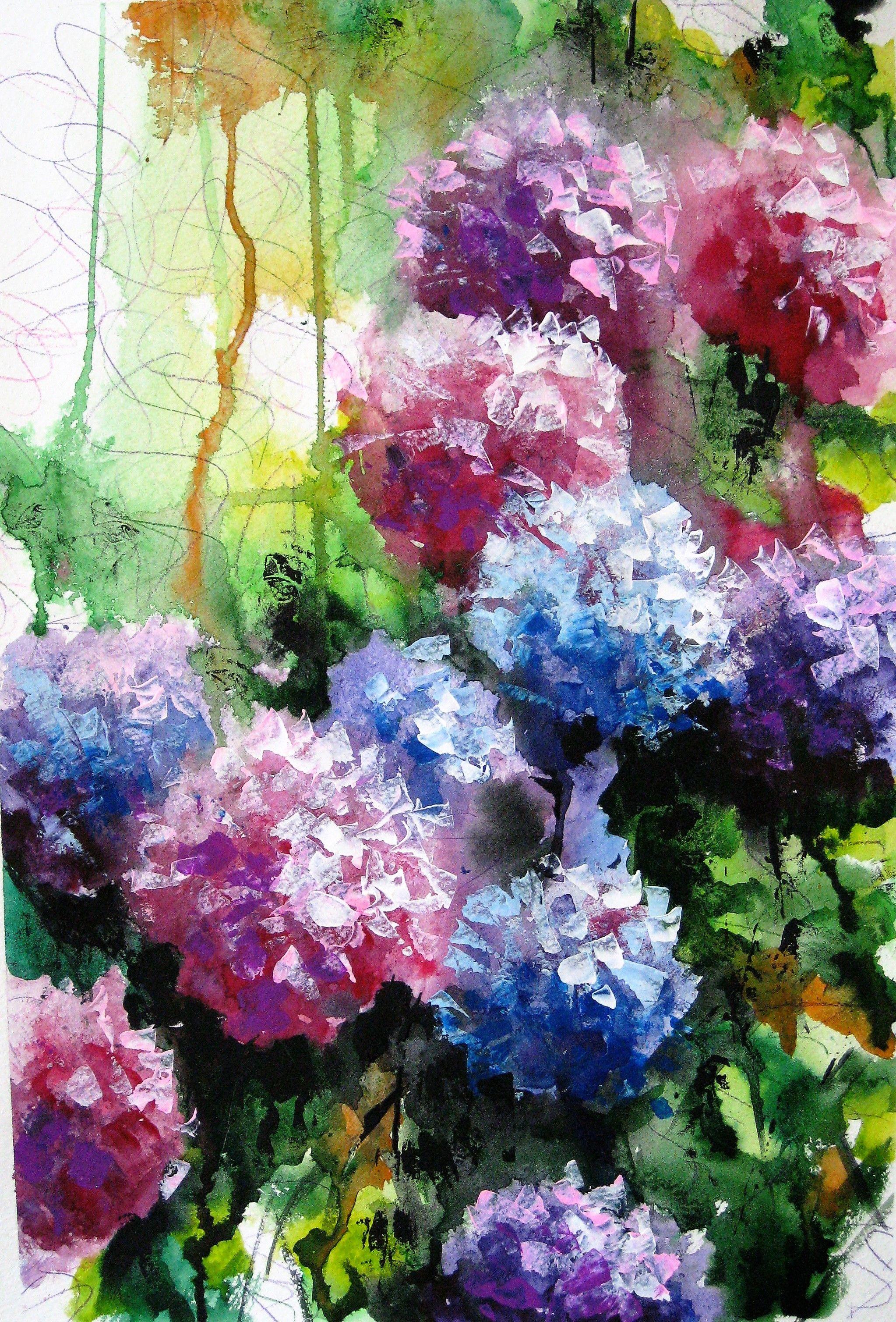 Watercolor Flower Painting Hydrangea Flower Art Floral Wall Decor Flower Painting Watercolor Flowers Paintings Flower Art