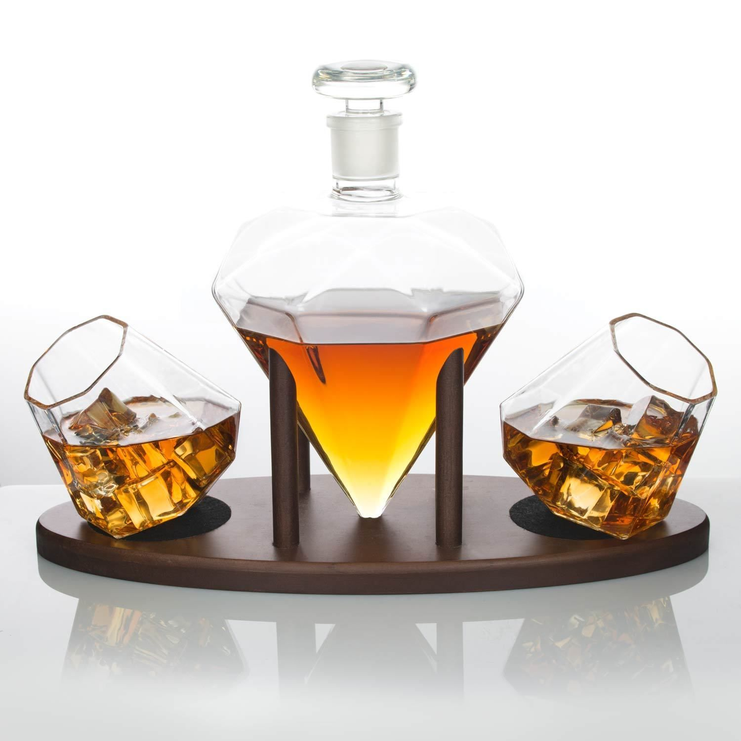 Diamond Decanter Set with Whiskey Stones and Lowball Glasses