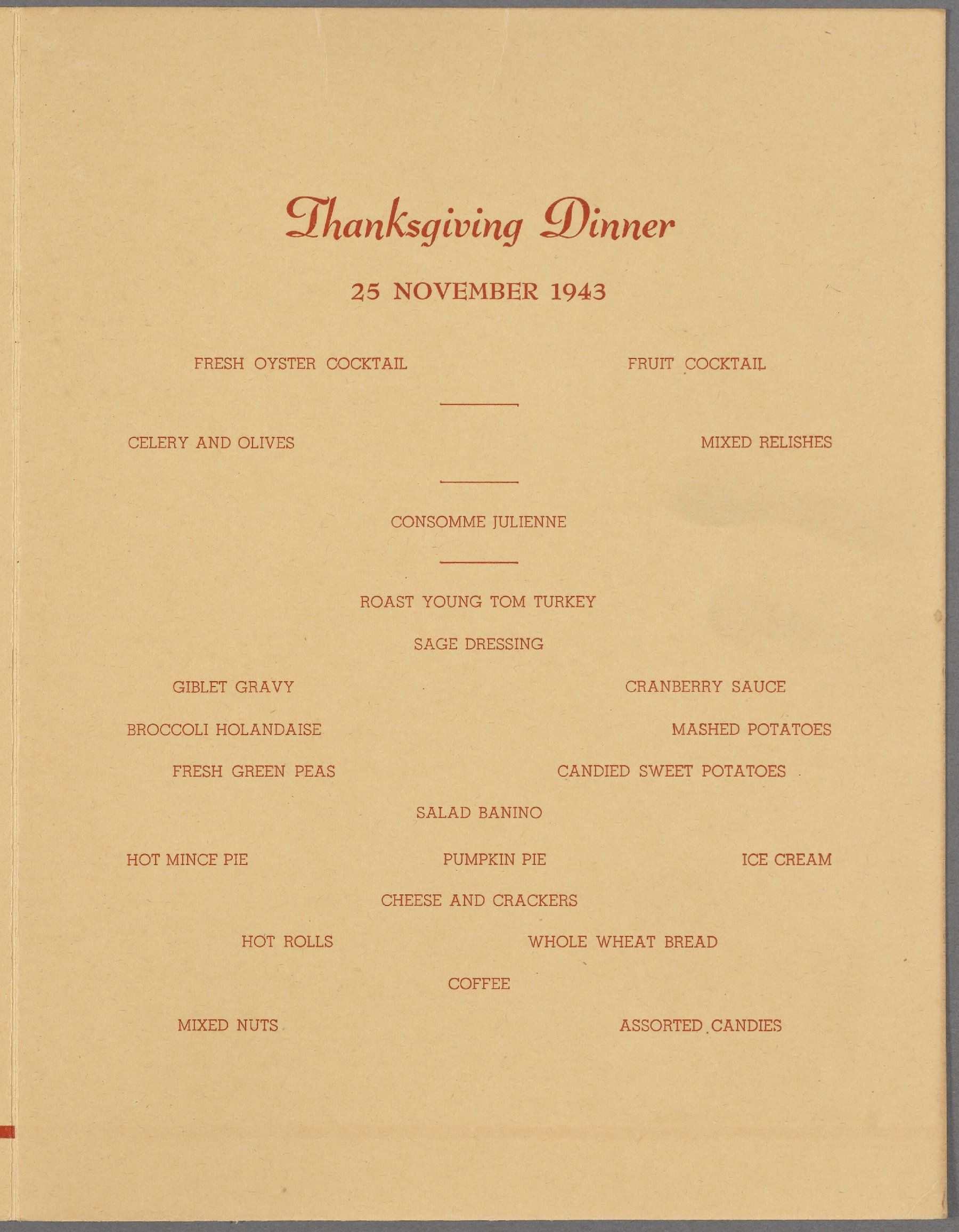 Menu Thanksgiving Dinner  Officers Mess Camp Myles