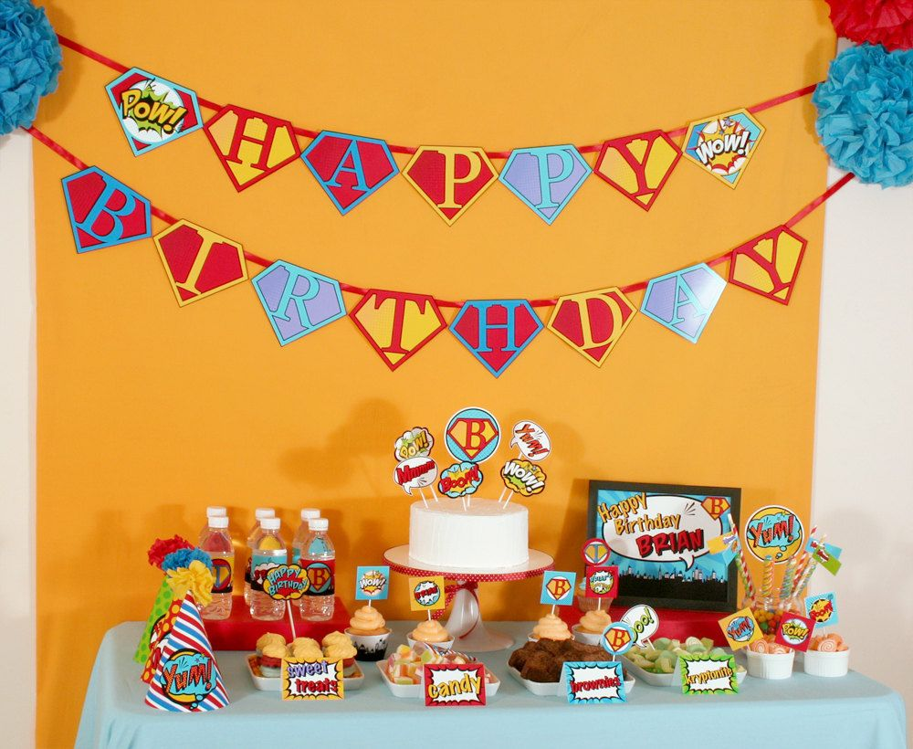 Superhero Birthday Party Package Personalized MINI Collection Set - PRINTABLE DIY - PS825y. $29.00, via Etsy.