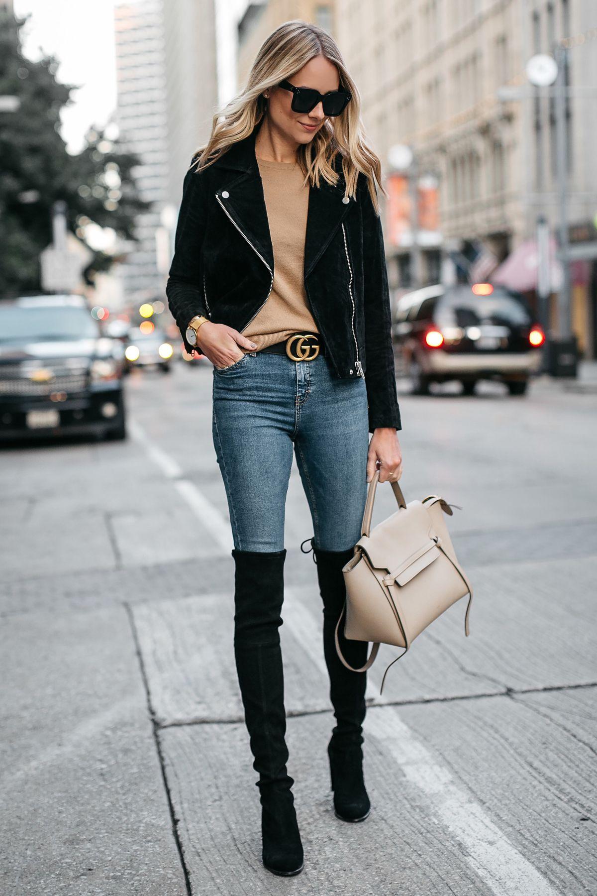 Blonde Woman Wearing Black Suede Moto Jacket Camel Sweater