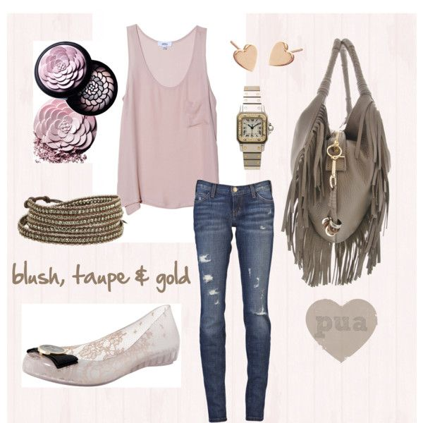 blush, taupe & gold, created by pua-ting on Polyvore