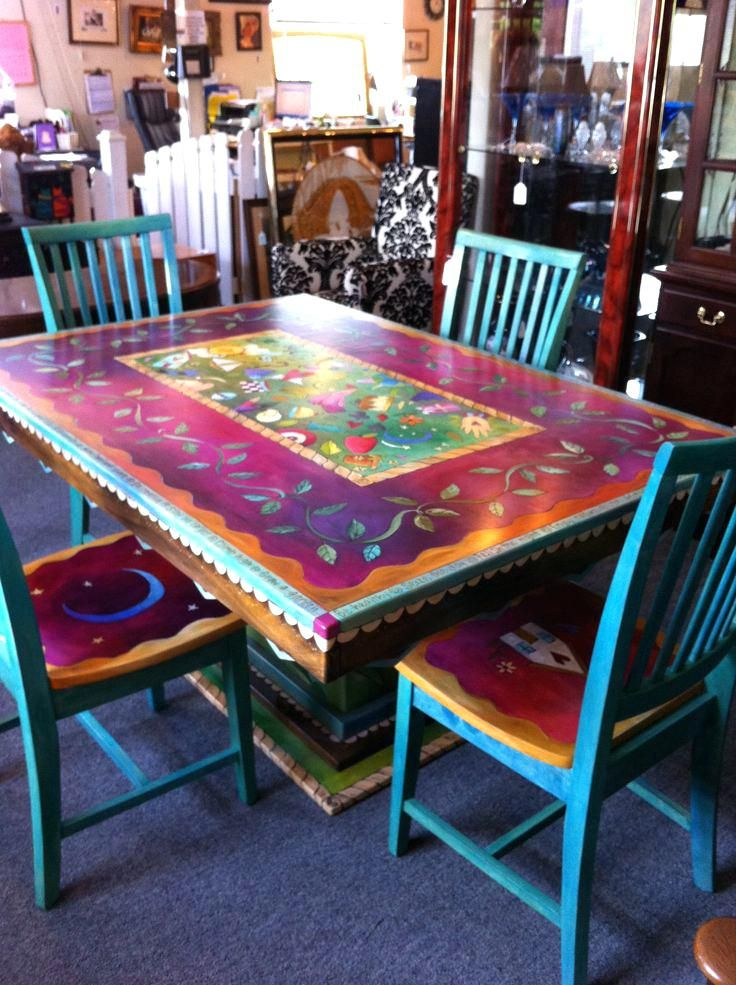 Bohemian Style Furniture For Sale Boho Chic Furniture And Accessories  Gorgeous Hand Painted Table And Chairs Now I Cant Decide How To Do Boho  Style ...