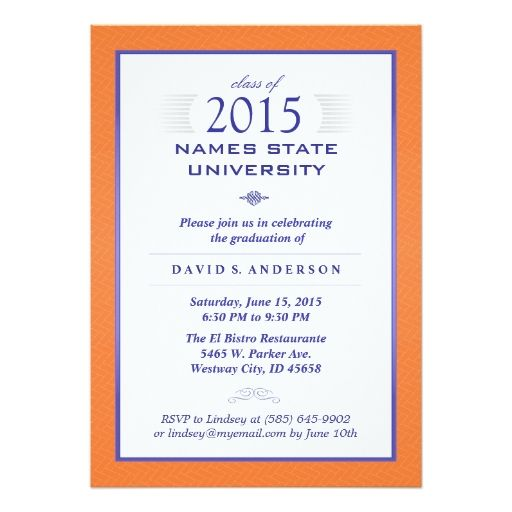 Orange blue formal graduation party invitation pinterest party orange and blue formal graduation party invitation 5 x 7 invitation card stopboris Choice Image