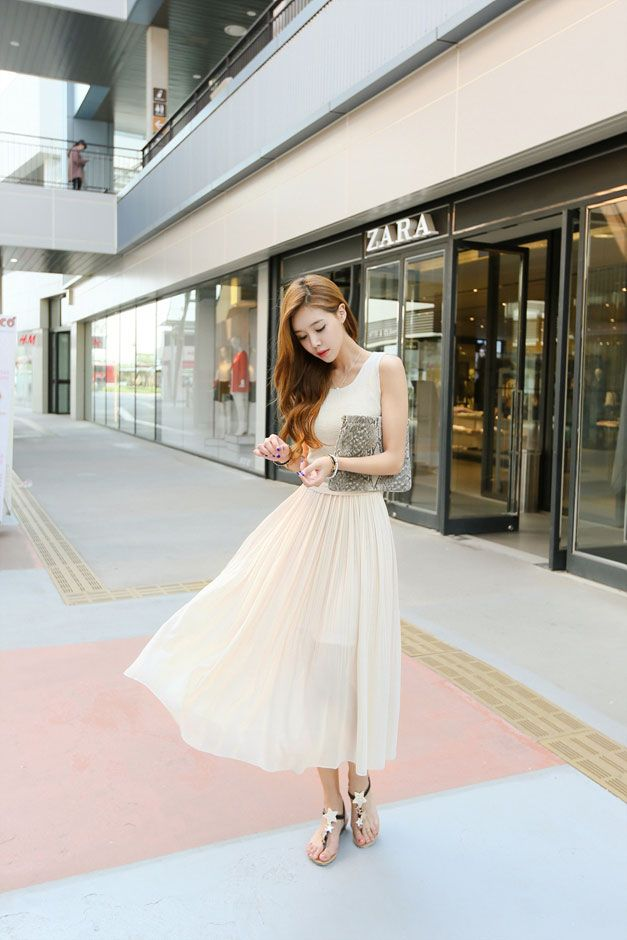 Knit Chiffon Long Dress