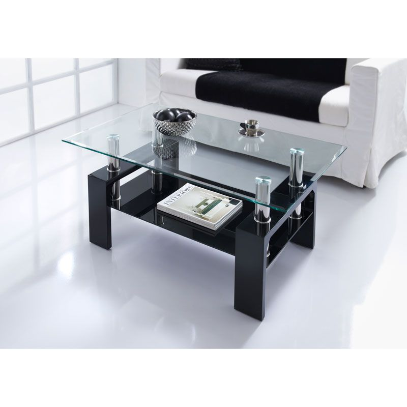 Nevada Coffee Table. Contemporary clear glass top table with black glass undershelf and matte black MDF legs. Material: Glass. W100 x D60 x H45cm - B&M.