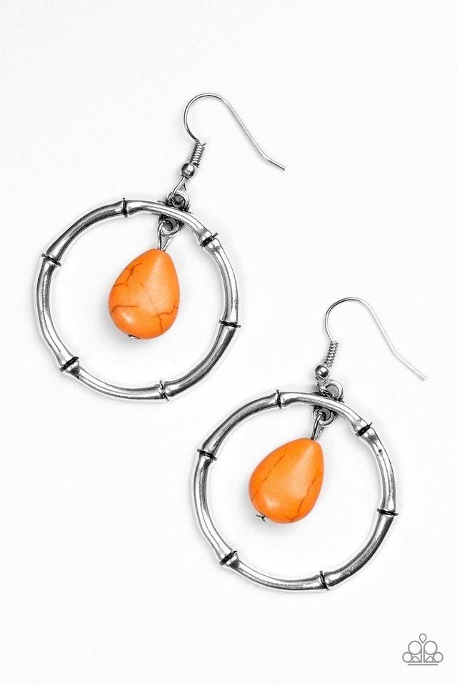 Paparazzi Stone Style Orange Silver Hoop Earrings