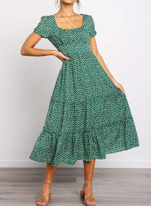 Square Neckline Short Sleeve Floral Ruffled Midi Dress Moddcute Midi Ruffle Dress Modest Dresses Maxi Dress With Sleeves [ 1500 x 1100 Pixel ]