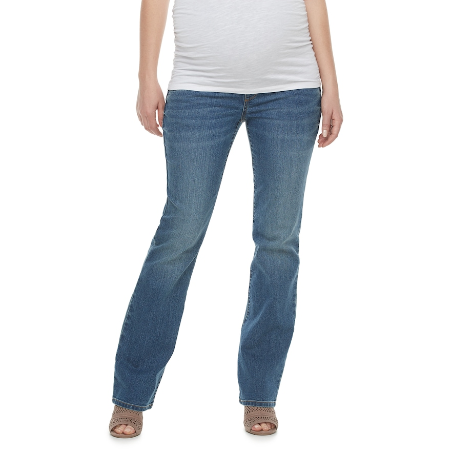 97cc09db9470b Maternity a:glow Belly Panel Faded Bootcut Jeans, Women's, Size: 2 Tl-Mat,  Med Blue
