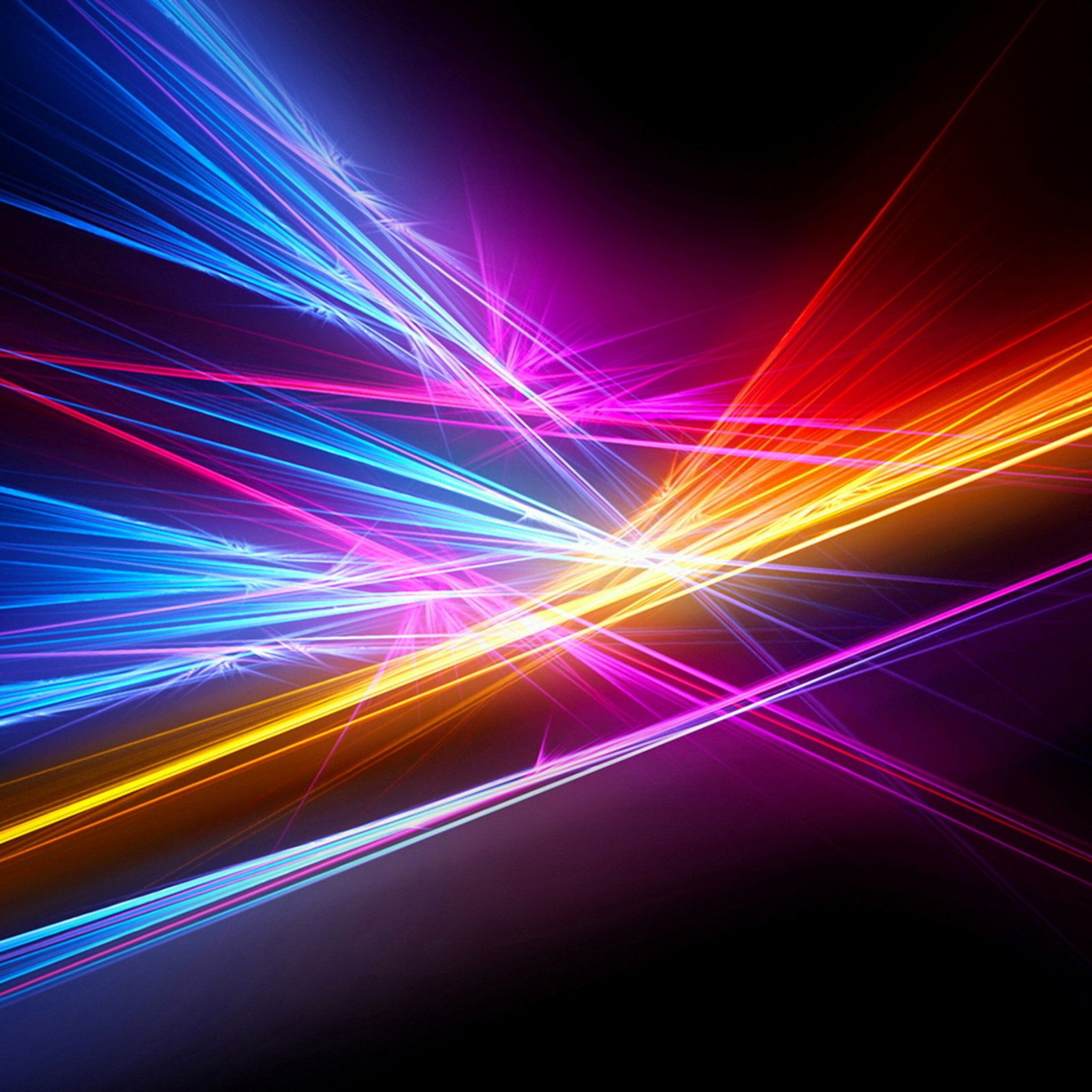 Wallpaper Rays, Color, Black Background