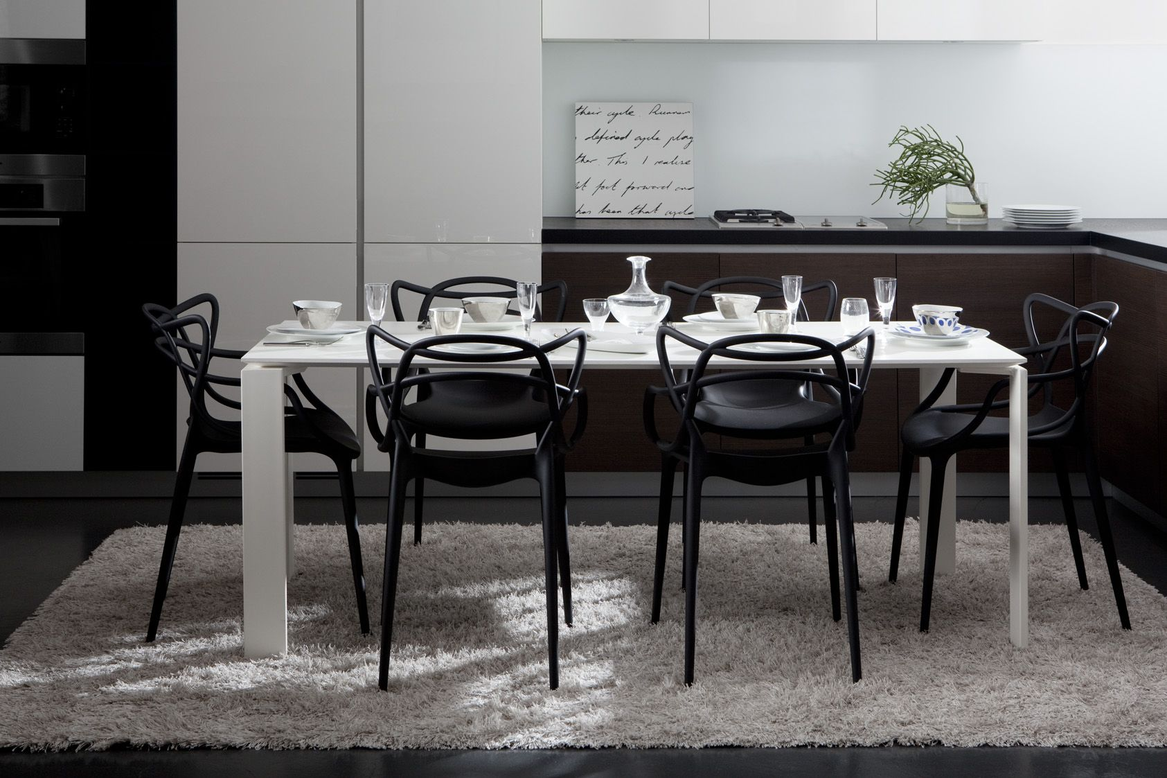 Kartell Complete Dining Package 1 X Four Table 190 Cm Black Or
