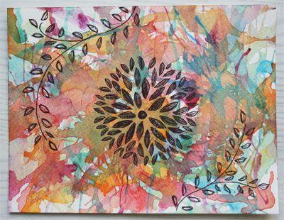 A blown flower card, by Randy Roelen, 2014. Made for iHanna's DIY Postcard Swap spring 2014. #doodles #mailart