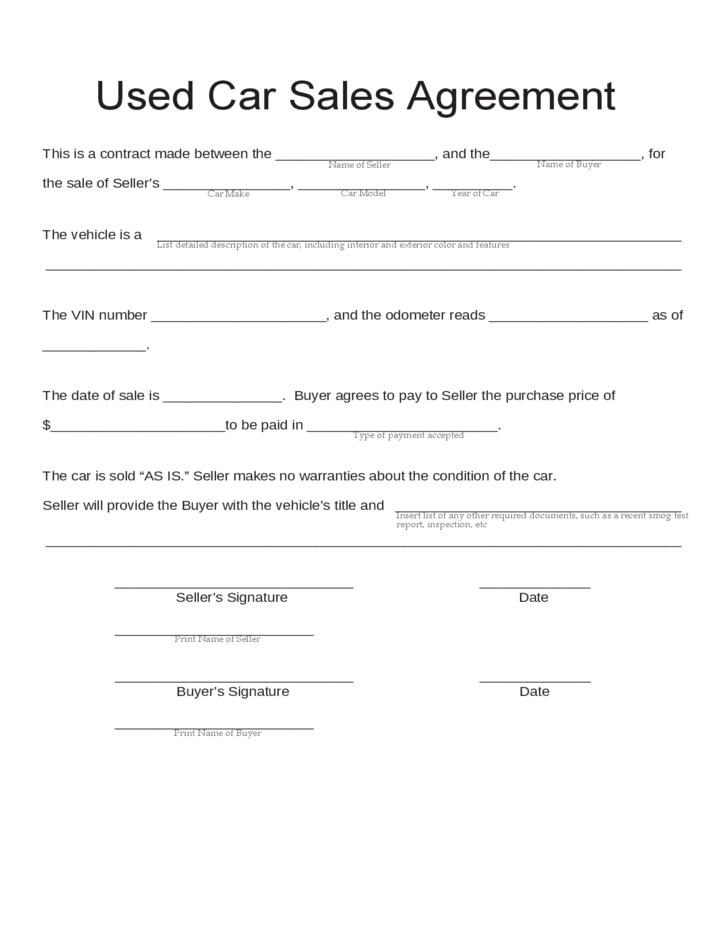 buy sell agreements templates - blank used car sales agreement free download tampletes