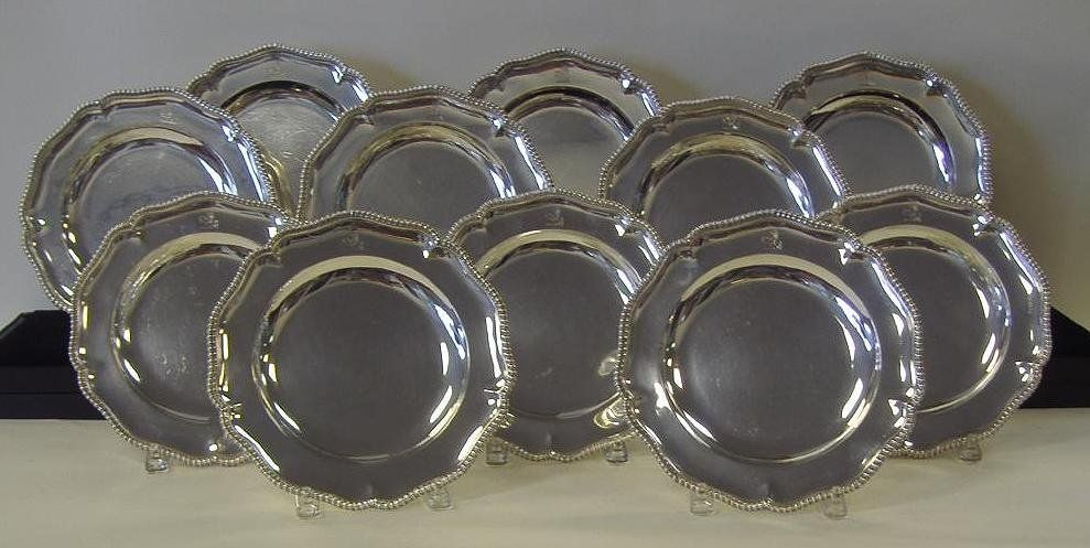 11 George V Sterling Silver Dinner Plates Crested & 40: 11 George V Sterling Silver Dinner Plates Crested on | Sterling ...
