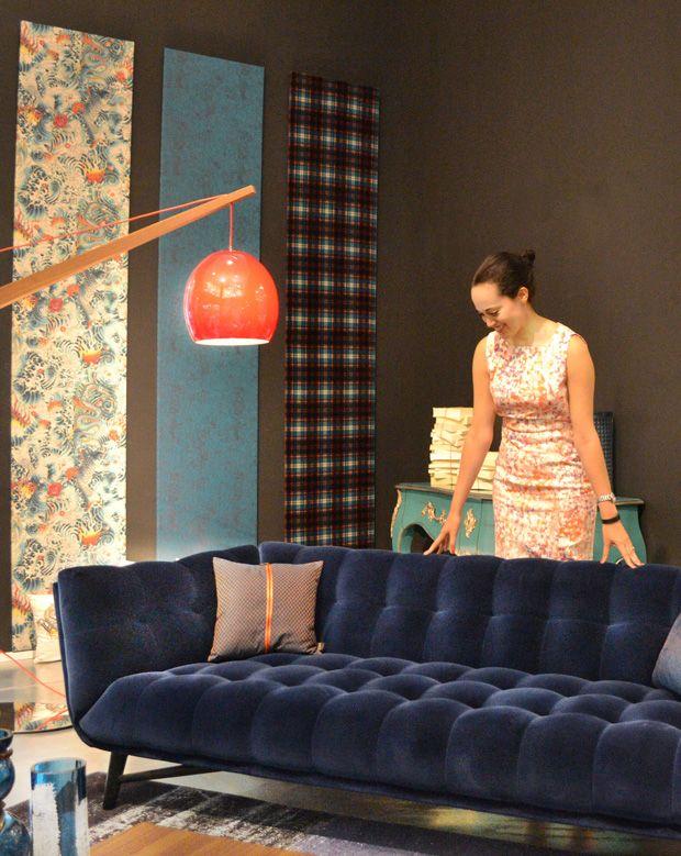 fabulous furniture and accessories roche boboisus blue velvet profile sofa