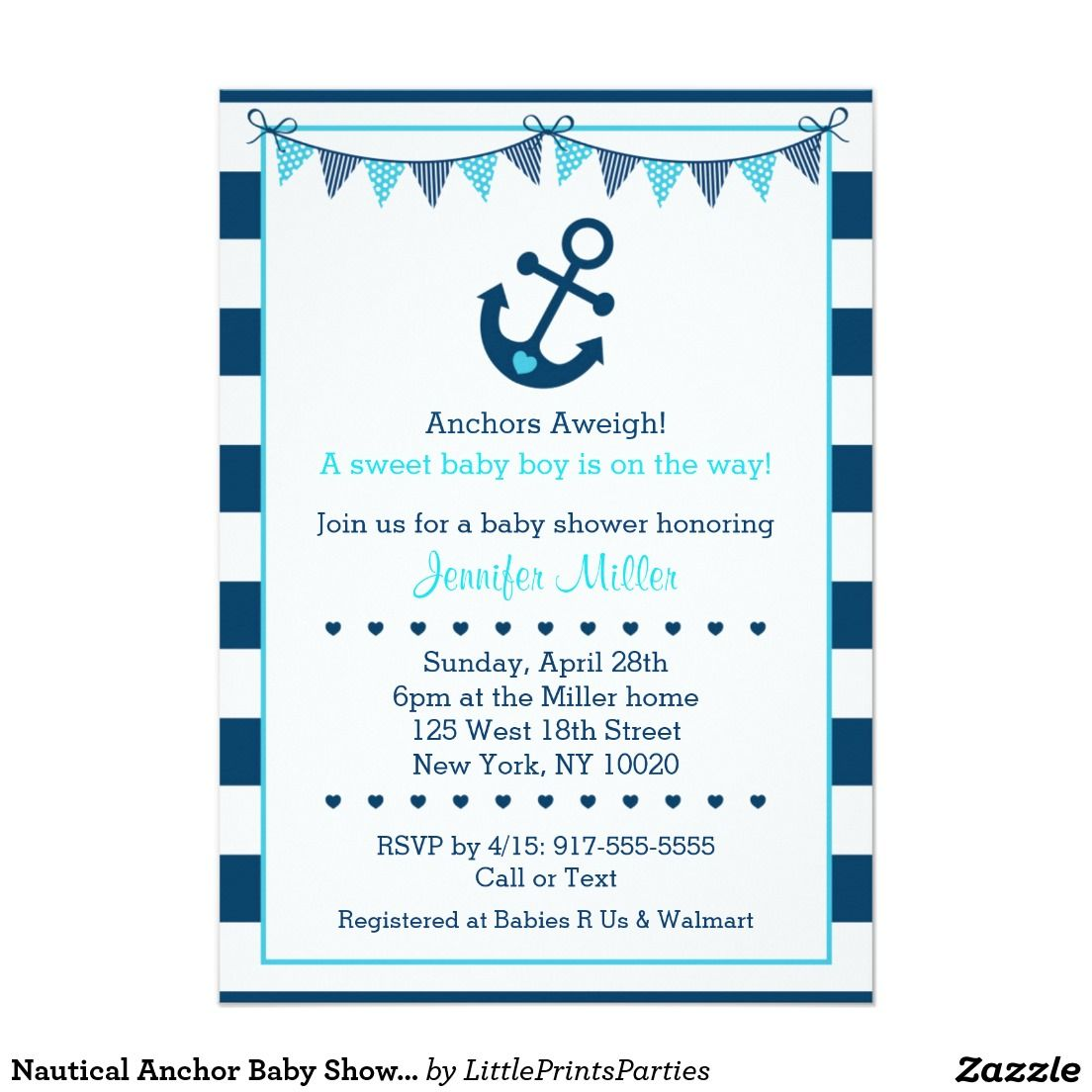 Nautical Anchor Baby Shower Card   Anchor baby showers, Nautical ...