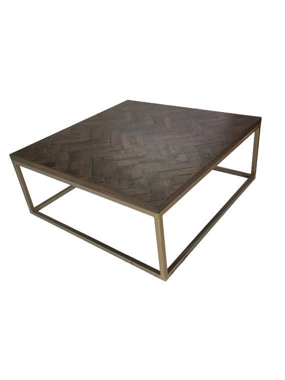 50 X 50 Square Gold Herringbone Table Ready To Ship Coffee