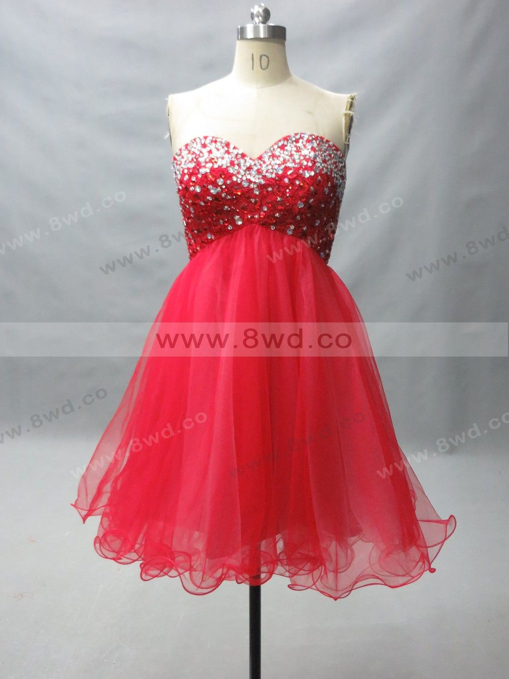 2015 Stunning Red Sweetheart Neckline Petite Organza Beading Crystal Short Cocktail Dress