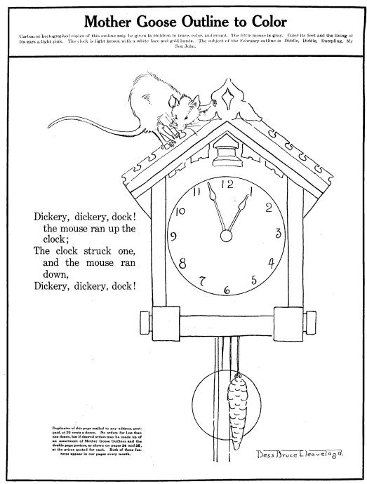 Vintage Hickory Dickory Dock Cuckoo Clock Colouring Page