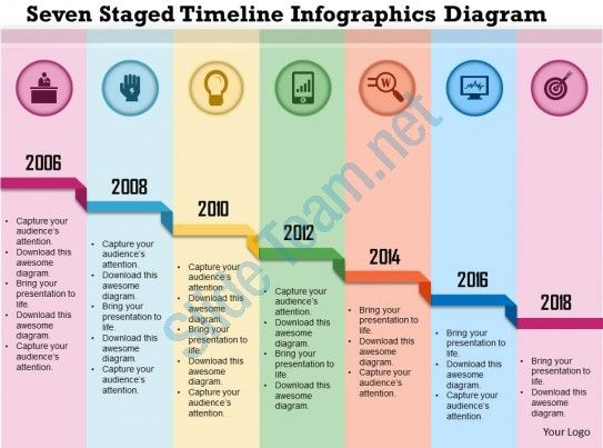 Seven Staged Timeline Infographics Diagram Powerpoint