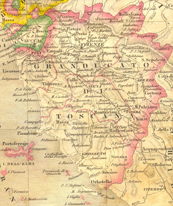Cartina Di Toscana.Map Of The Grand Duchy Of Tuscany Mappe Antiche Toscana Mappe