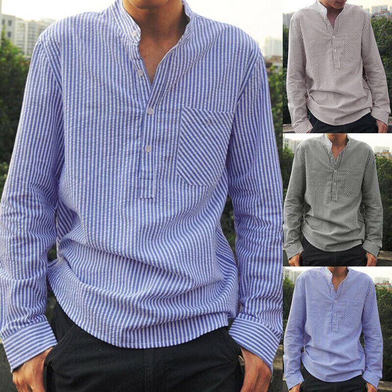 Mode Hommes Chemise à manches longues en lin décontracté  Chemises Rétro hauts