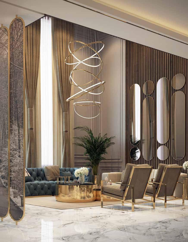 Gorgeous art deco style glam living room decor with restoration hardware soho tufted sofa