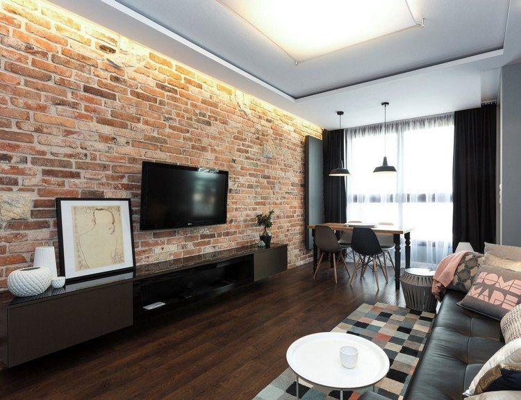 Wohnzimmer im Industrial Style - rote Ziegelwand und schwarze ...
