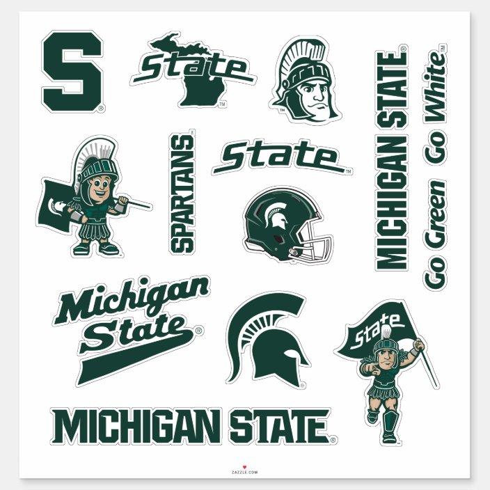 Msu Michigan State Spartans Logos Sticker Zazzle Com Michigan State Spartans Logo Michigan State Michigan State Spartans