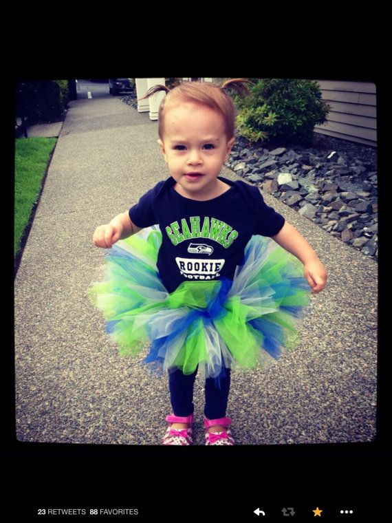 Seahawks tutu for toddler / baby / girl. As seen on Sunday Night Football and re-tweeted by Russell Wilson