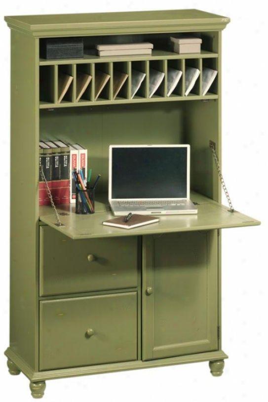 tall secretary desk in green