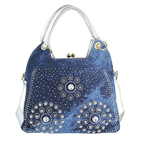 347a4fd9d0 Your Gallery Women s Bling Rhinestone Turnlock Denim Handbag Messenger Your  Gallery http   www