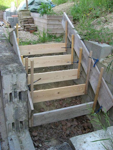 Fabriquer un #escalier en #Béton #concrete-outdoor-stair Stairways - Couler Une Terrasse En Beton