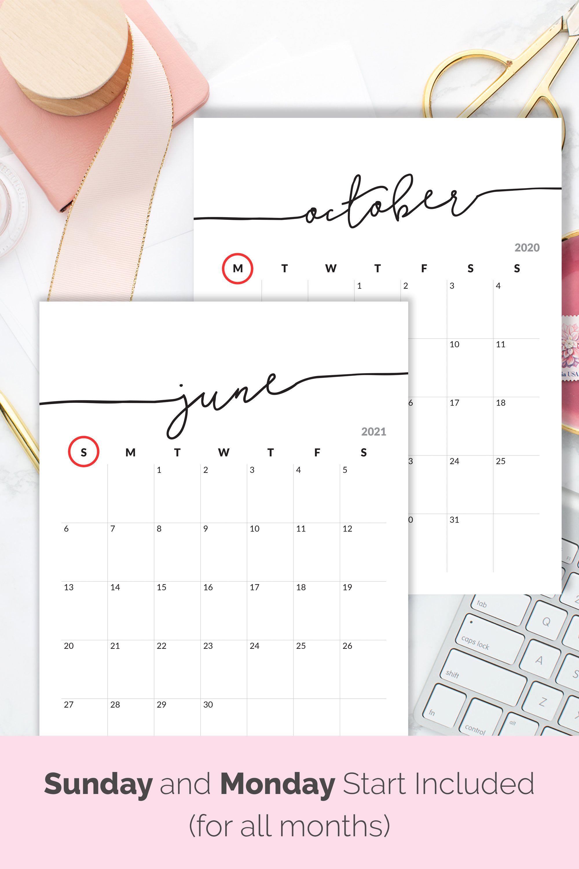 Printable Calendar 2020 2021 Calendar for Frame Planner Calendar