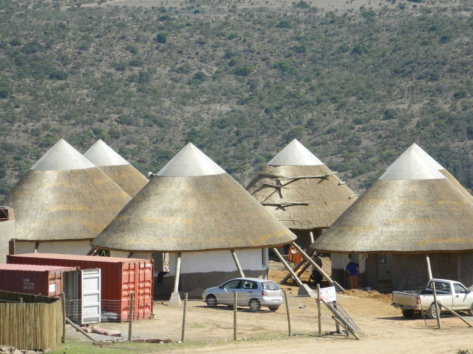 Modern rondavels with fiberglass capping for light in mvezo eastern cape of south africa