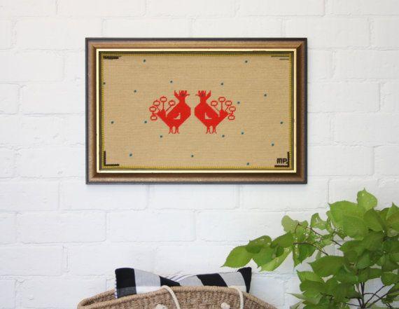 Amazing Retro Aztec Otomi Wool Fibre Art Wall by SwoopVintage