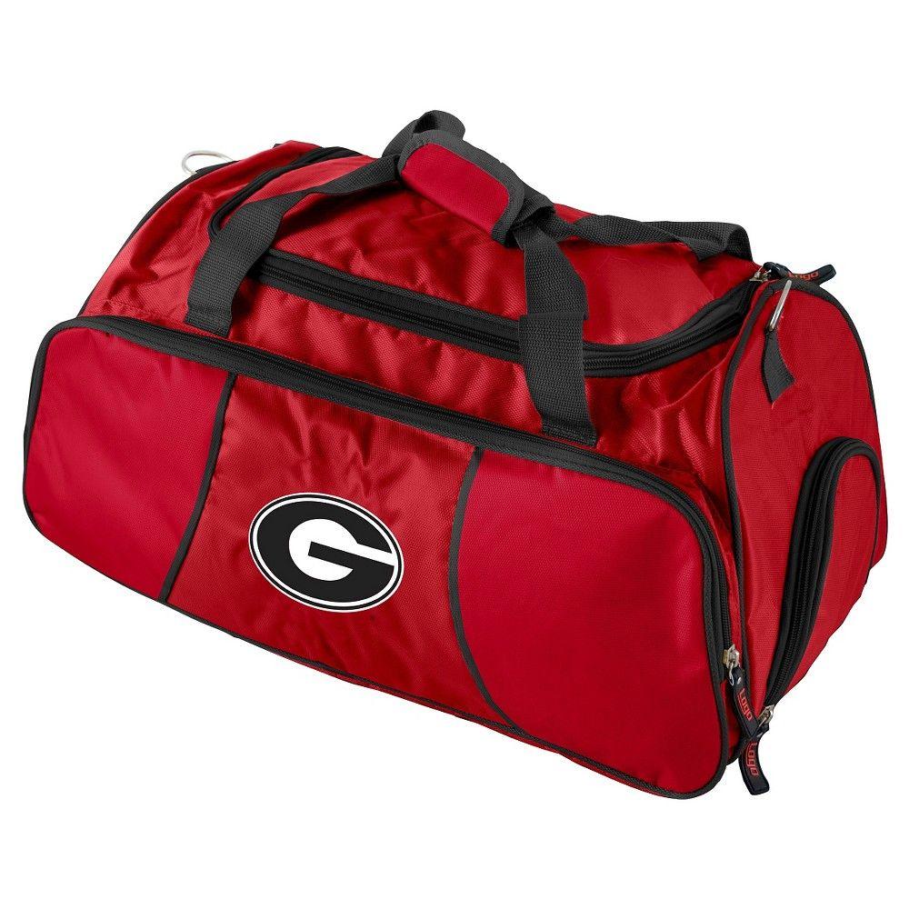 Ncaa bulldogs duffel gym bag redblack sports