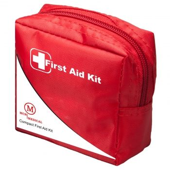 """Compact First Aid Kit, MCR Medical:The compact kit is small in stature but big on utility. Measuring just 4"""" x 4"""", it's chock full of components to treat minor injuries. Plus, it's our smallest kit which still includes the popular ice pack. The Compact First aid kit is made from durable nylon, stores easily in a briefcase, purse, glove compartment, or desk drawer, and has a belt loop for easy carrying."""
