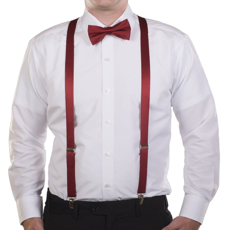 Kids to Adults Sizing Tuxgear Mens Matching Black Adjustable Suspender and Bow Tie Sets