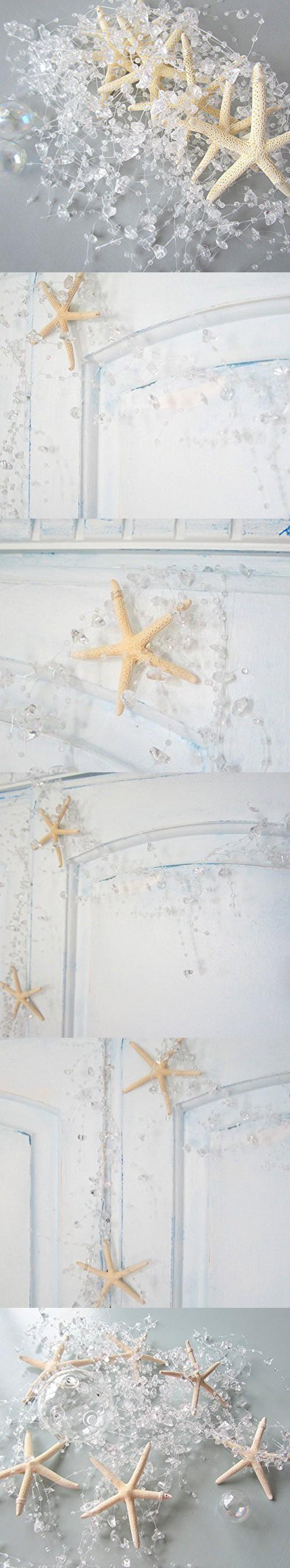 Beach Decor Nautical Beaded Starfish Garland - White Starfish Decorative Garland - 5FT - #BSFG CLEAR