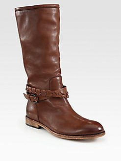 85b06e50624 Alberto Fermani - Leather Braided Knee-High Boots