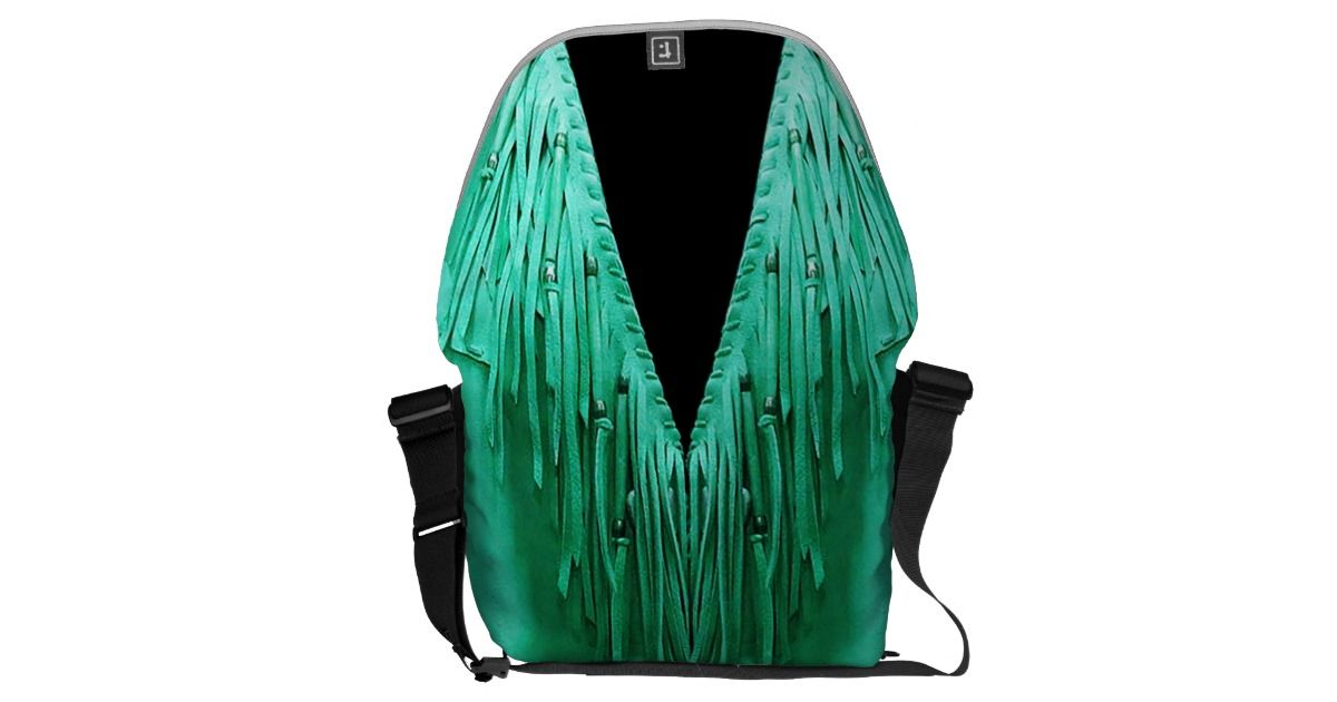 Silky green leather and fringe print courier bag