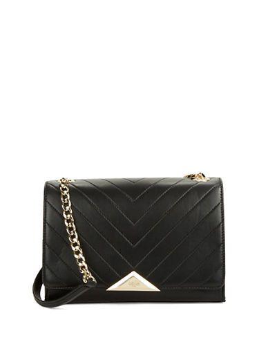 Karl Lagerfeld Paris Gigi Leather Shoulder Bag Women s Black ... 737cfc24e7bf3