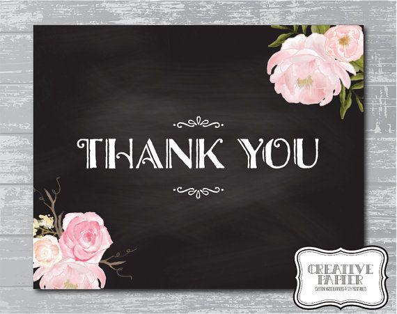 Peony Flower Thank You Sign 8x10 DIY Wedding by CreativePapier, $5.00
