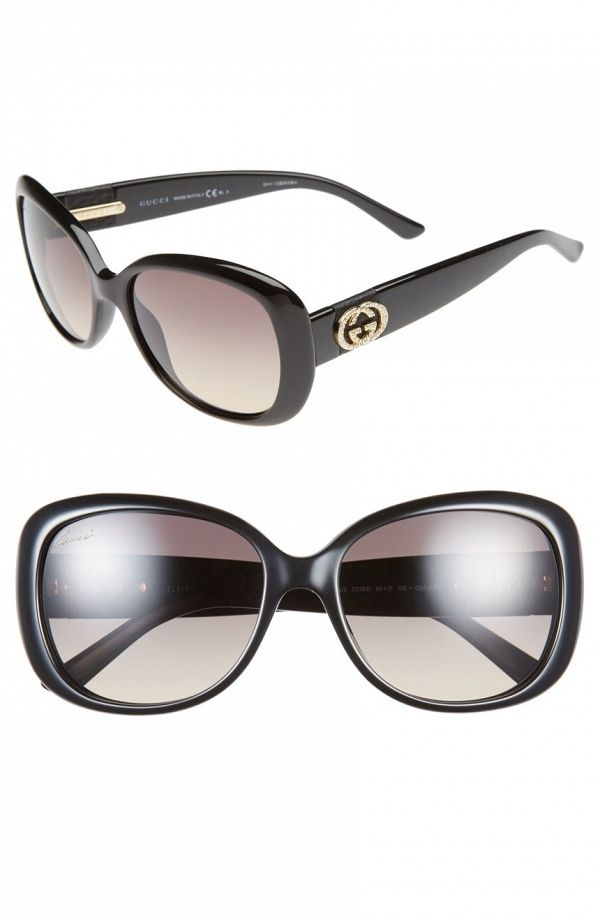 6f07d8132098a Pristine Swarovski crystals illuminate the Gucci logos at the temples of  these suave sunglasses in a glamorous