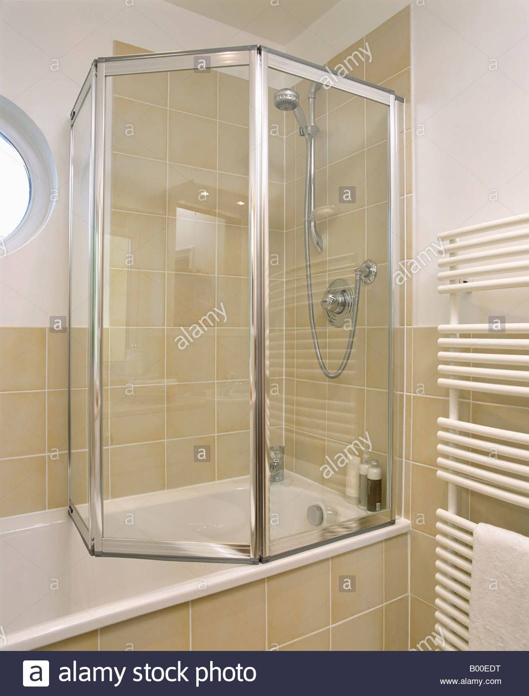 Stock Photo Folding Glass Shower Doors Bath Modern Bathroom Bathtub